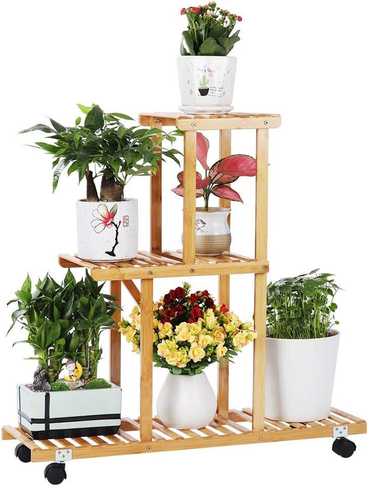 Bamboo Plant Stand Rack with Wheels 3 Tier Indoor&Outdoor Rolling Plant Flower Pots Holder Shelf Planter Display Shelving Unit for Patio Garden, Living Room, Corner Balcony and Bedroom (6 Flowerpots)
