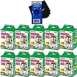 Fujifilm Instax Mini Twin Pack Instant Film -10pack (200 shots) for Fujifilm Instax Mini 7s, Mini 8, Mini 25, Mini 50S, Mini 90, SP-1 & SP-2 Smartphone Printers + HeroFiber Ultra Gentle Cleaning Cloth
