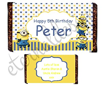 Eternal Design 1 X Personalised Kids Chocolate Bar Wrapper Favours