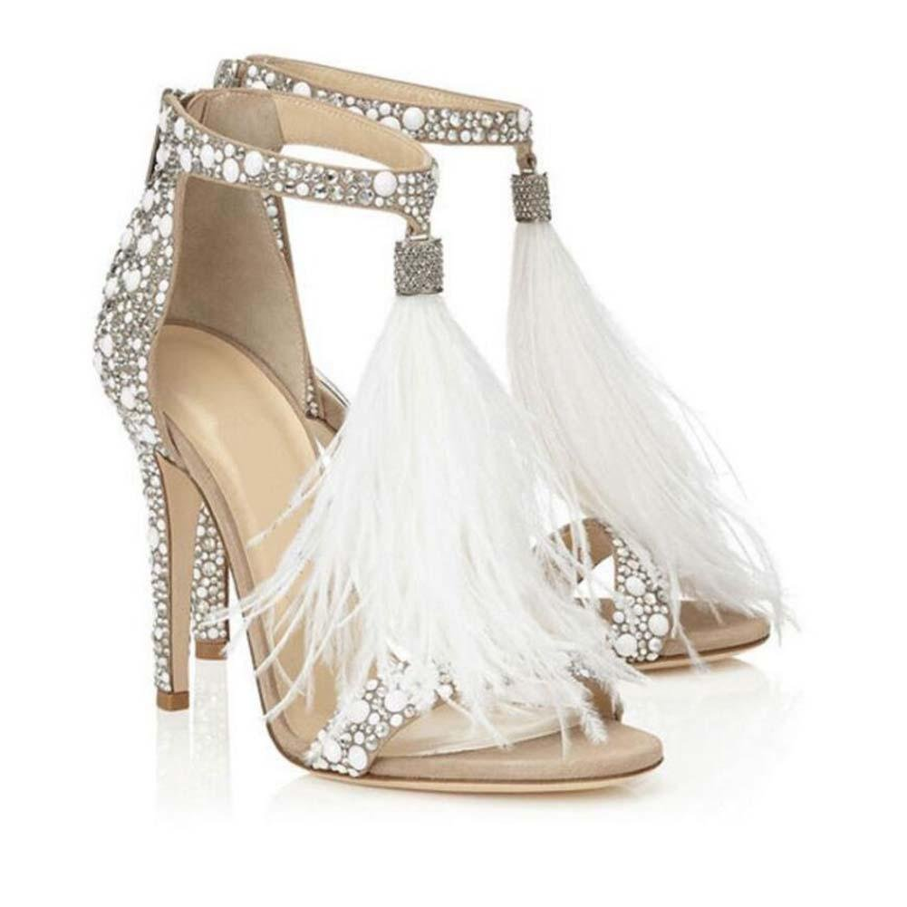 Bomba 10cm Estilete Scarpin D'Orsay Plumas Borla Sandalias Zapatos de boda Mujer Encantador Piedras de Strass Punta abierta Cremallera Tacones altos Zapatos De Vestir Zapatos de fiesta Tamaño grande 3 Onfly