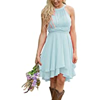 Meledy Women's Knee Length Country Bridesmaid Dress Western Wedding Guest Dress