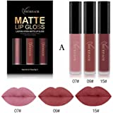 3Pcs Matte Lipstick Fashion Long Lasting Display Waterproof Liquid Lipstick Cosmetic Sexy Lip Gloss Kit by Staron