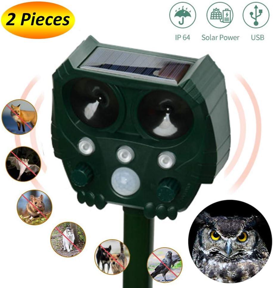 POWER BANKS Ultrasónico Repelente de los Animales Ahuyentador Solar y Cable de USB para Animales, Ratas, Perros, Gatos, Aves, Zorros etc. en Jardín, Patio, Huerto,Campo