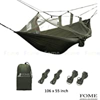 FOME Portable High Strength Parachute Fabric Hammock Hanging Bed with Mosquito Net for Outdoor Camping Travel Gift ¡