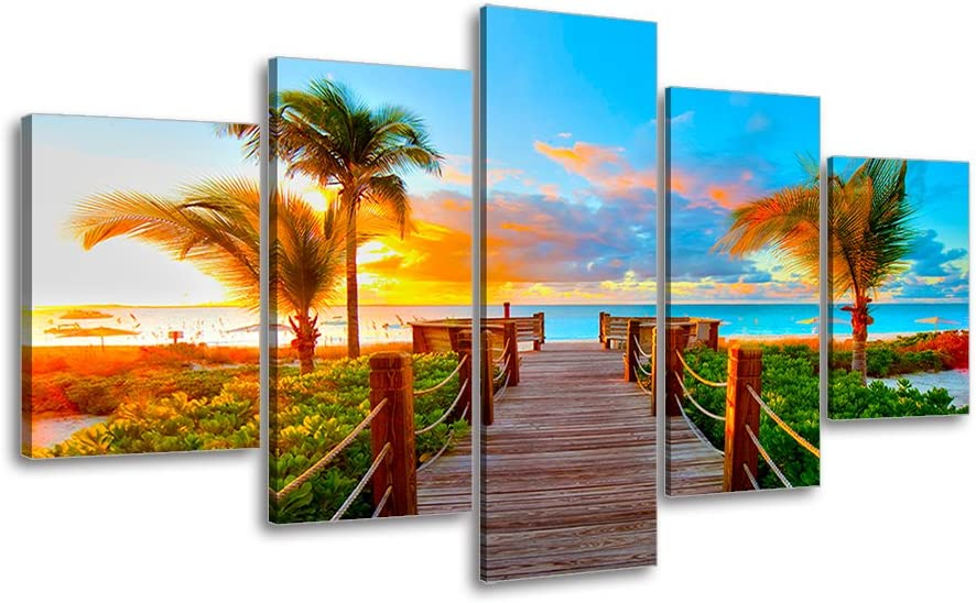 Tropical Beach Painting Decor, SZ 5 Piece Palm Tree Sunset Picture Canvas Wall Art, Ocean Canvas Prints for Bedroom, Ready to Hang, 1
