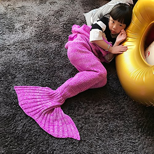 Ranger Power Rangers Deluxe Adult Costumes Pink (Handmade Mermaid Tail Blanket Crochet , Ibaby888 All Seasons Warm Knitted Bed Blanket Sofa Quilt Living Room Sleeping Bag for Kids and Adults(Kids / 55.1