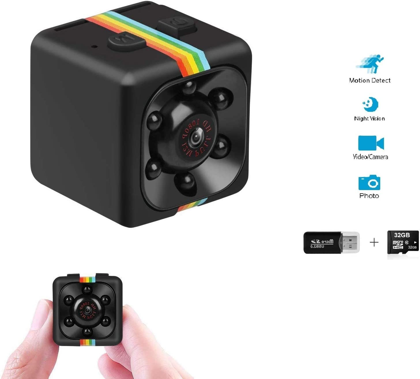 Portable Tiny Nanny Cam with Night Vision Motion Detection for Car Indoor Outdoor Mini Spy Camera WiFi Wireless Hidden Video Camera 1080P HD Small Home Security Surveillance Cameras