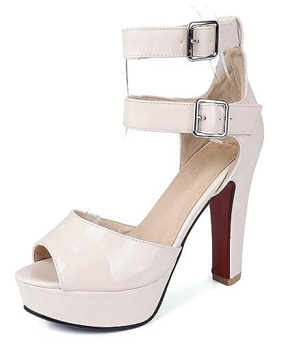 SHOWHOW Damen Sexy Peep Toe Zierschnalle Plateau High Heels Sandalen Beige 43 EU gSoprfo0