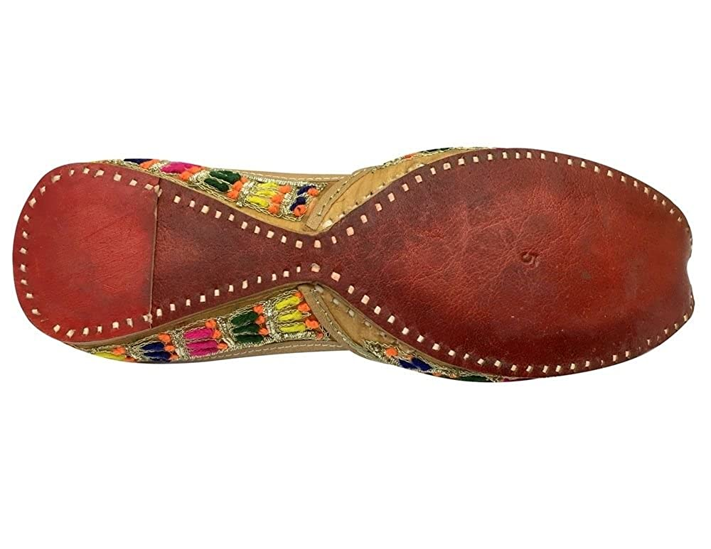 Step n Style Handmade Jooti Camel Leather Juti Womens Mojari Jutti Flat Khussa Shoe