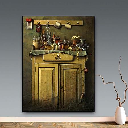 GUDOJK Pintura Decorativa Cocina Retro Lienzo Pintura Cuadros Cafetería Moderna Dibujo Carteles e Impresiones Arte de la Pared Imagen Sala de estar-60x80cm: Amazon.es: Hogar