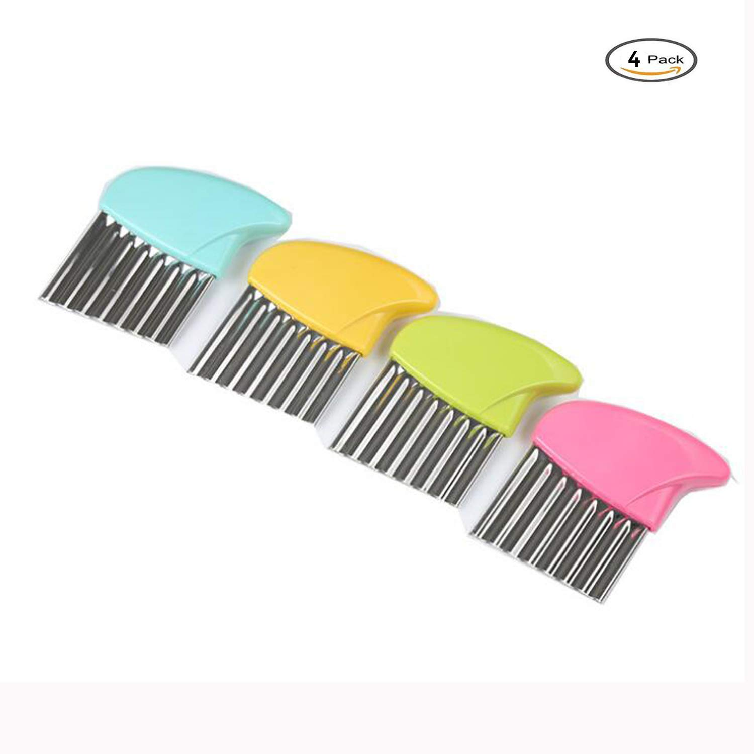 Wavy Knife Crinkle Cutter Chopping Tool Slicer With Stainless Steel Blade Potato Wavy Edged Knife Kitchen Gadget Vegetable Fruit Cutting Peeler Cooking Tool Accessories 4 Pack Multicolor by J&Q (Image #1)