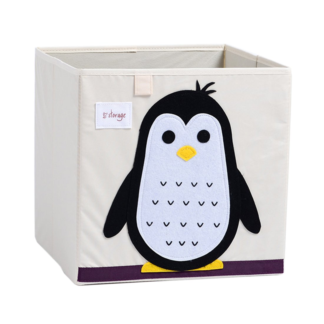 DODYMPS Foldable Animal Canvas Storage Toy Box/Bin/Cube/Chest/Basket/Organizer For Kids, 13 inch (Penguin) by DODYMPS