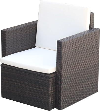vidaXL Sillón de Jardín Silla de Patio Asiento de Exterior Terraza Muebles de Aire Libre de Ratán Sintético Marrón y Cojín Blanco Material Tipo Mimbre: Amazon.es: Hogar