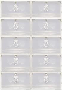 صندوق تنظيم أحذية بلاستيكي شفاف يسع 10 قطع ... (شفاف، يسع 10 قطع)