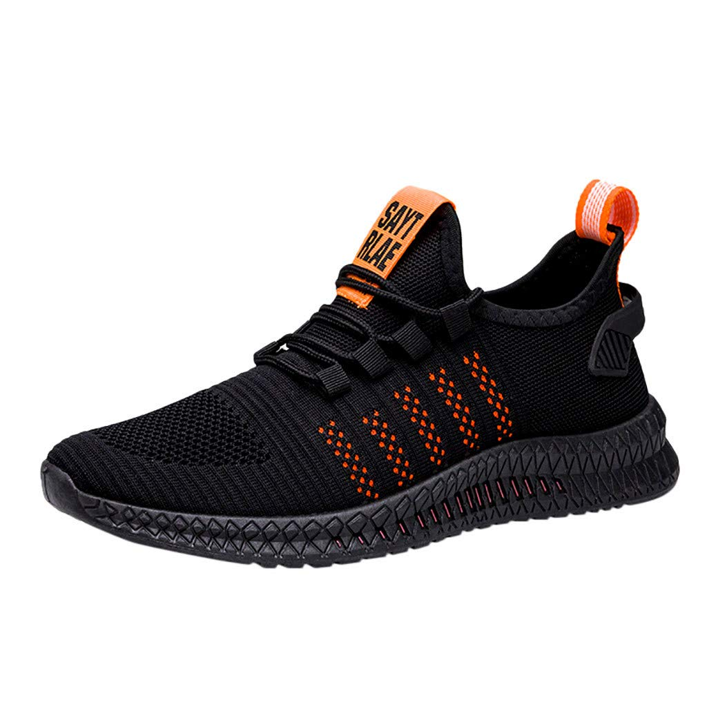 ZOMUSAR Fashion Men's Basic Spring Autumn Shoes Mesh Breathable Wearable Outdoor Lightweight Sports Shoes Orange by ZOMUSAR