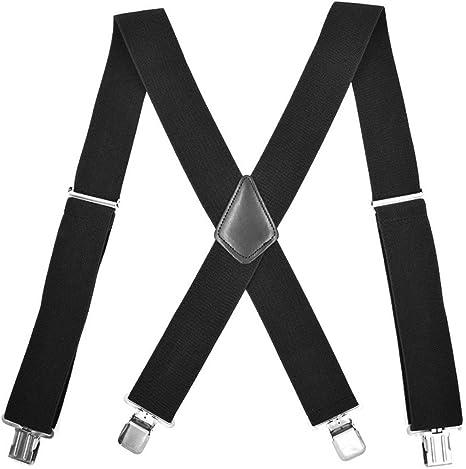 Ballylelly Tirantes Negros de 120x5 CM para Hombre, 4 Clips, Correas para Pantalones elásticos extendidos para Adultos, Tirante de Negocios Ajustable: Amazon.es: Deportes y aire libre