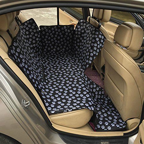 BUYITNOW Dog Car Seat Cover Protector with Removable Zipper Waterproof Printed SUV Backseat Bench Hammock Black