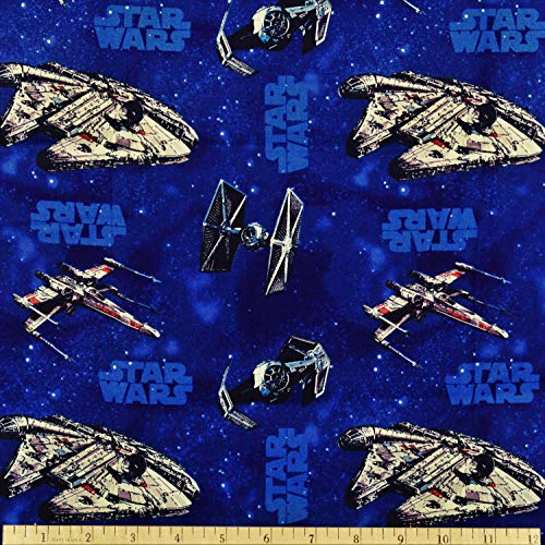 (Star Wars Fabric Star Ships in Blue from Camelot 100% Cotton PRE-CUTS)