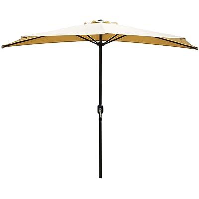 Kozyard 9 Ft Half Round Outdoor Patio Market Umbrella with 5 Ribs and Tilt Design for Balcony Deck Garden or Terrace Shade (Beige) : Garden & Outdoor