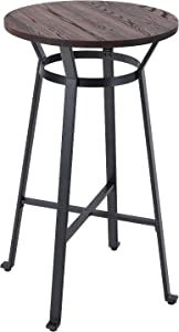 ALPHA HOME Bar Table Square Wood Top Sturdy Metal Frame Pub Bar Height Table for Bistro,Black