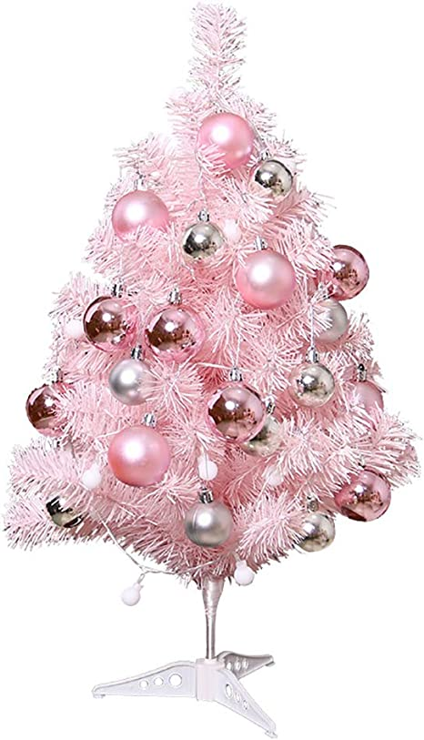Mini Christmas Tree Pink 2 Ft Artificial Small Christmas Tree Home Decoration Table Top Xmas Tree with Lights and Bauble Balls Ornament