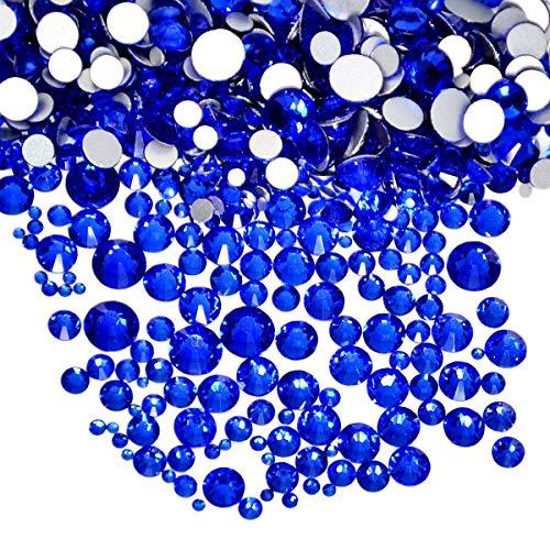 AD Beads 1440pcs Mixed Size Non Hotfix Quality Rhinestones Flatback Nail Art Pick Color (Sapphire -