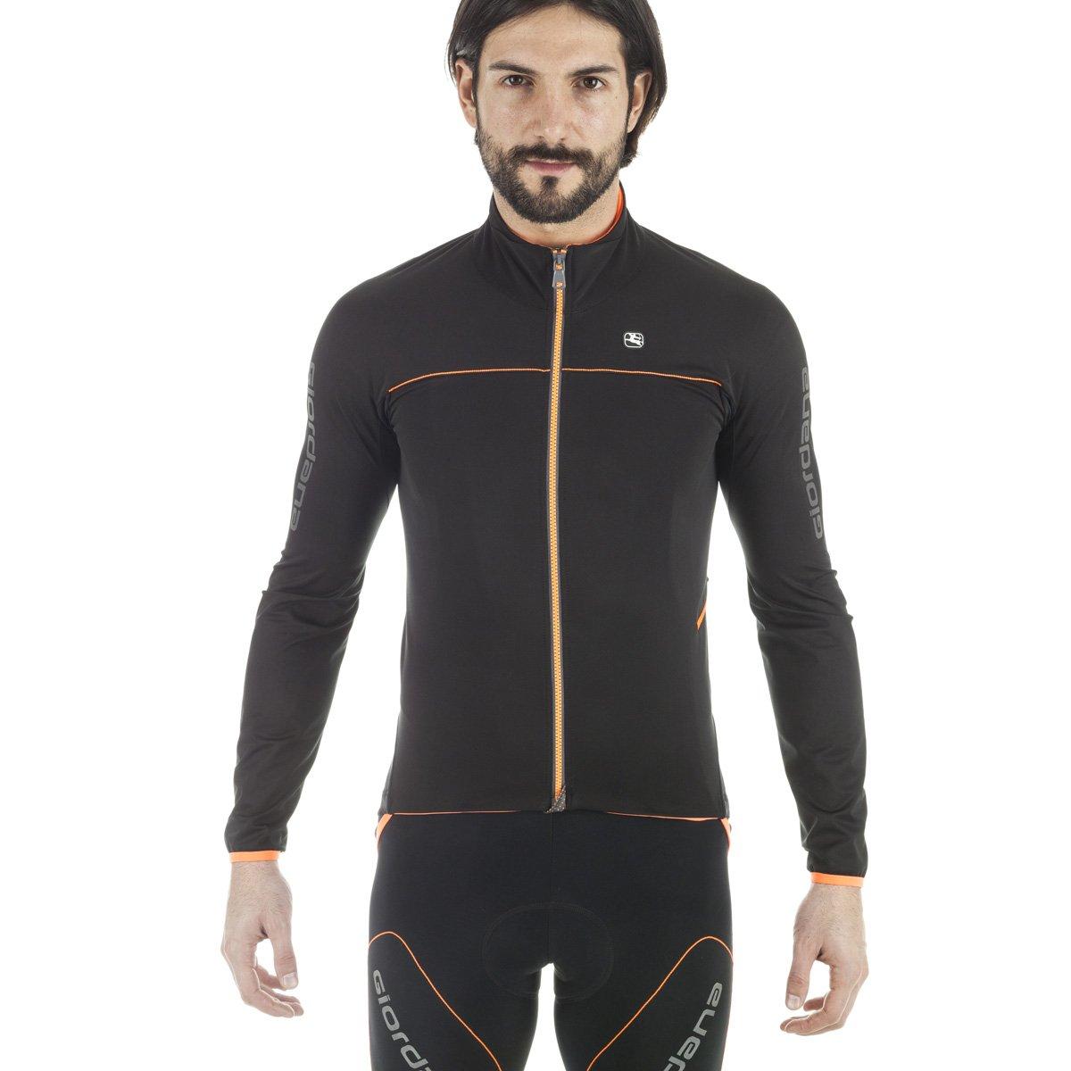 Giordana 2016/17 メンズ Aqua Vento 200 サイクリングジャケット - GICW16-JCKT-A200 B01MQD6NCO Large|ブラック/オレンジ ブラック/オレンジ Large