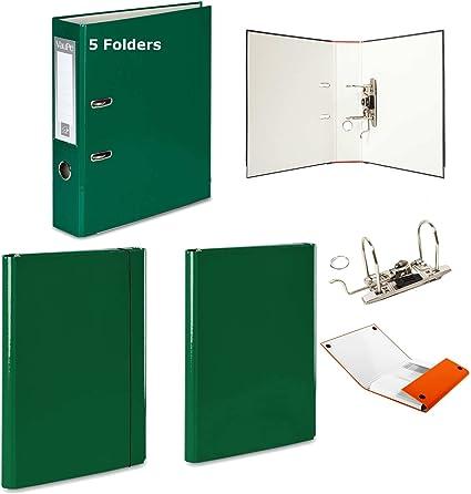 5 x gris – Archivador de palanca + 2 duro carpetas – 1 velcro banda de goma + 1 – 15 colores documento oficina: Amazon.es: Oficina y papelería