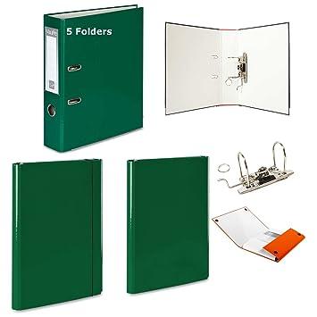 5 x gris - Archivador de palanca + 2 duro carpetas - 1 velcro banda de goma + 1 - 15 colores documento oficina: Amazon.es: Oficina y papelería