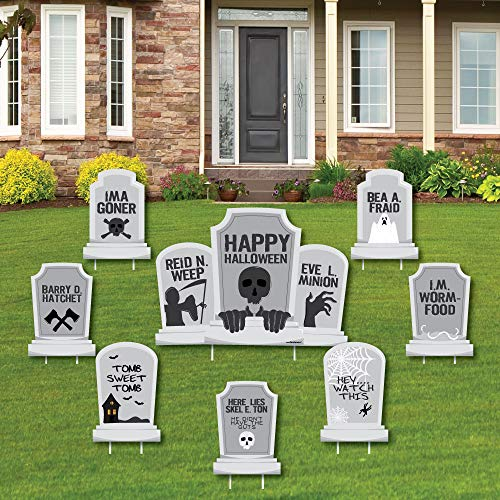 Graveyard Tombstones - Yard Sign & Outdoor Lawn Decorations - Halloween Party Yard Signs - Set of 8]()