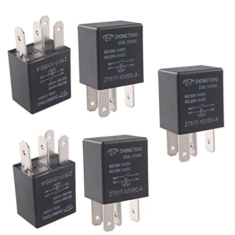 HOUTBY 5Pack Universal 100A 12V 5Pin Car Auto Relay Kit Heavy Duty SPDT