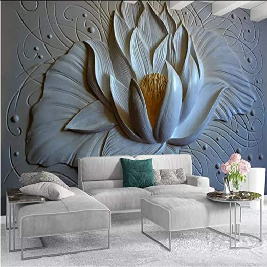 Amazon Com Dalxsh Custom Mural Wallpaper 3d Stereo Relief Lotus Photo Wall Paper Living Room Tv Sofa Background Wall Covering Art Home Decor Mural 280x200cm Kitchen Dining