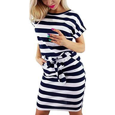 e06774c8ac Women s Dress Clearance Sale,Farjing Women Summer Casual Short Sleeve  Striped Tie Waist Beach Dress