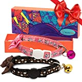 Munte Pets Breakaway Cat Collar with Removable Bell and Cute Bowtie - Easy Adjustable 9-13