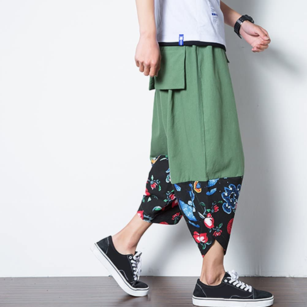 Zhuhaitf Retro Loose Thai Harem Pants Mens Breathable Linen Pants Casual Bottoms