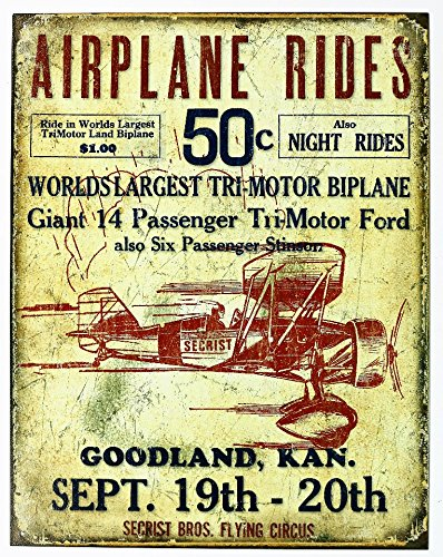 Poster Revolution Secrist Flying Circus - Airplane Rides Tin Sign 13 x 16in ()