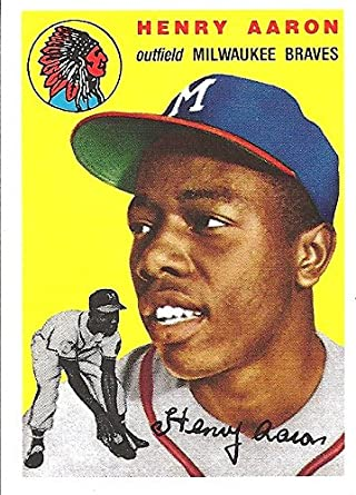 Henry Hank Aaron 1954 Reprint Baseball Card Issued By