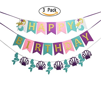 Mermaid Birthday Party Decorations Kit Happy Banners Pom Poms And Paper Lanterns Balloons For