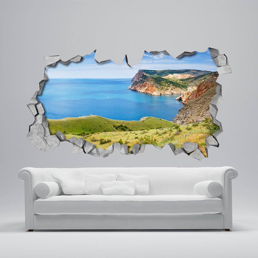 Papel Pintado Efecto 3D 130 x 72 cm, Papel Pintado 3D Tiburones Efecto Techo Adhesivos Decorativos
