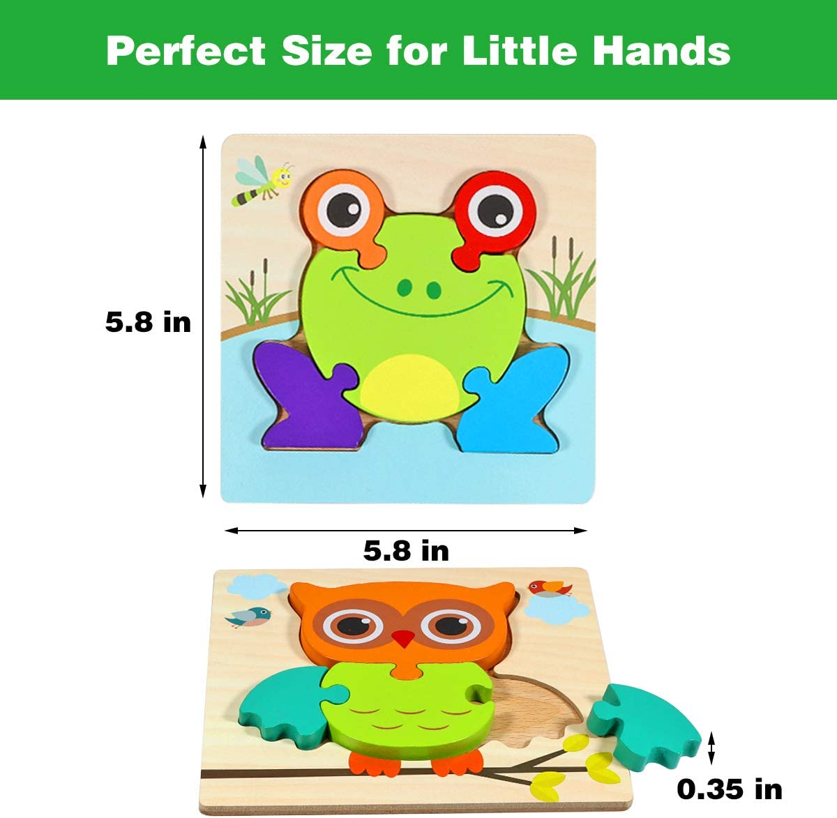 Animal Puzzles for Kids Age 2-4 Learning Toys Apfity Wooden Jigsaw Puzzles 6 Pack Baby Puzzles 12-18 Months Toddler Educational Toys for 1 2 3 Year Old Boy Girl