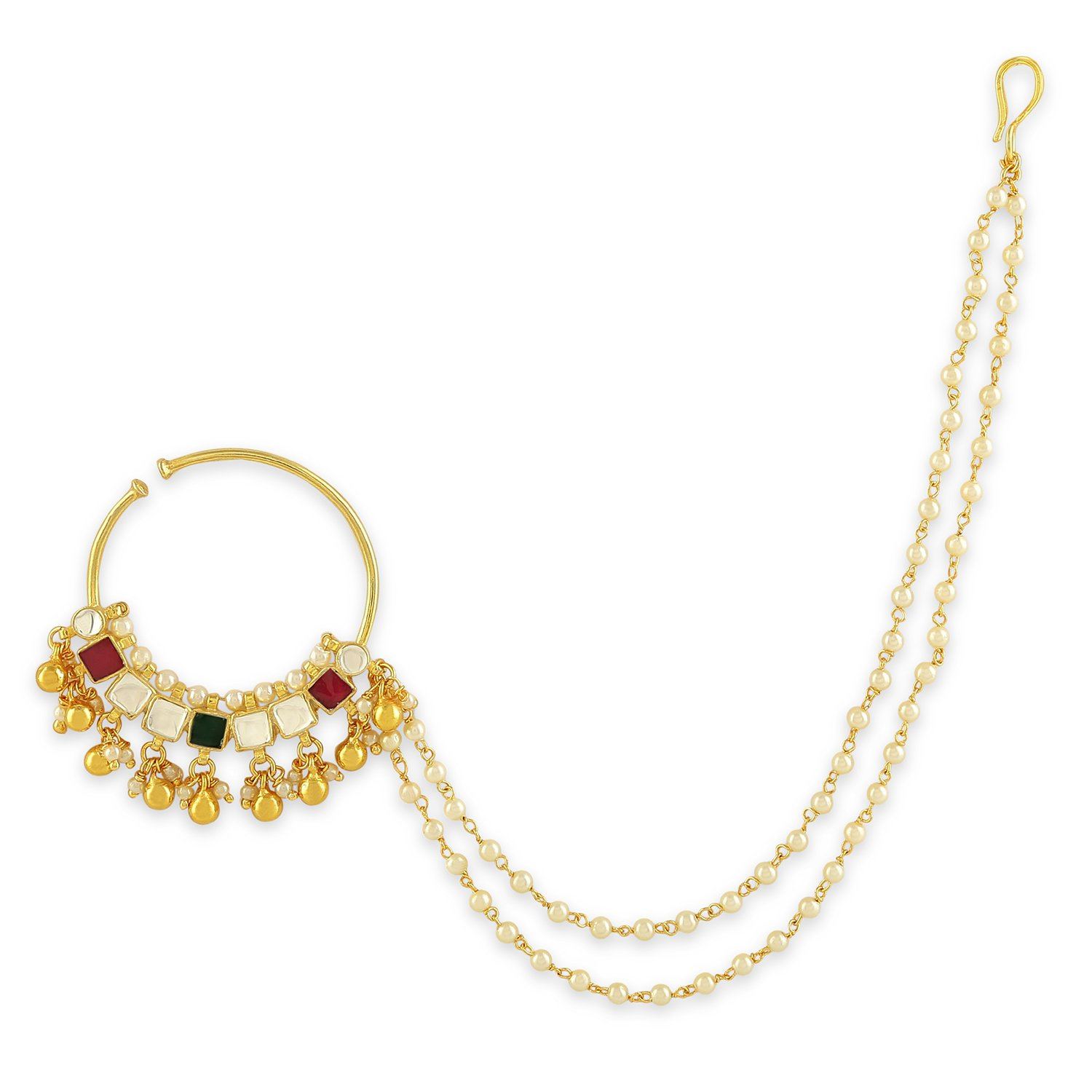 AccessHer Multi-Colour Color Copper Material Jadau Kundan and pearl nose ring with chain
