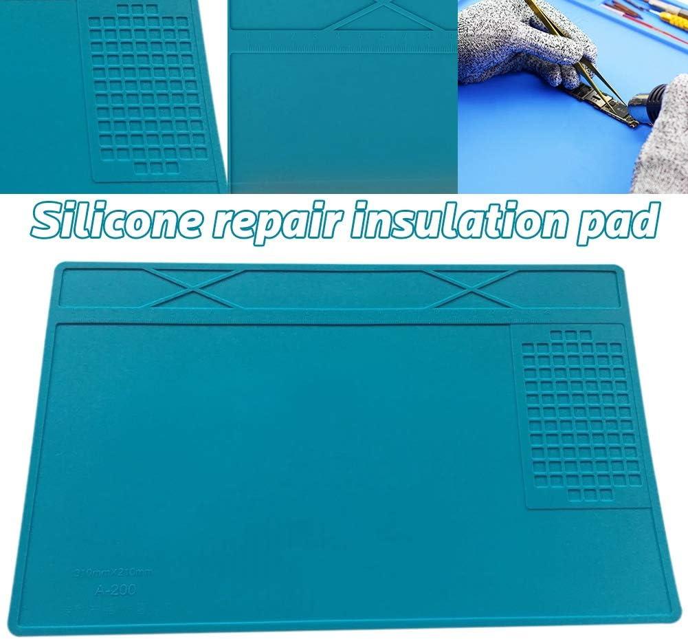 Fauge Heat-Resistant Bga Soldering Station Soldering Pad Silicone Heat Insulation Pad Repair Tools Maintenance Platform Desk Mat-Blue