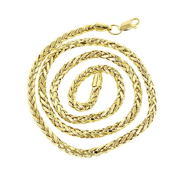 IcedTime-14K-Yellow-Gold-Round-Franco-Chain-4mm-Diamond-Cut-Hollow-8-24-long-Necklace-Lobster-Clasp