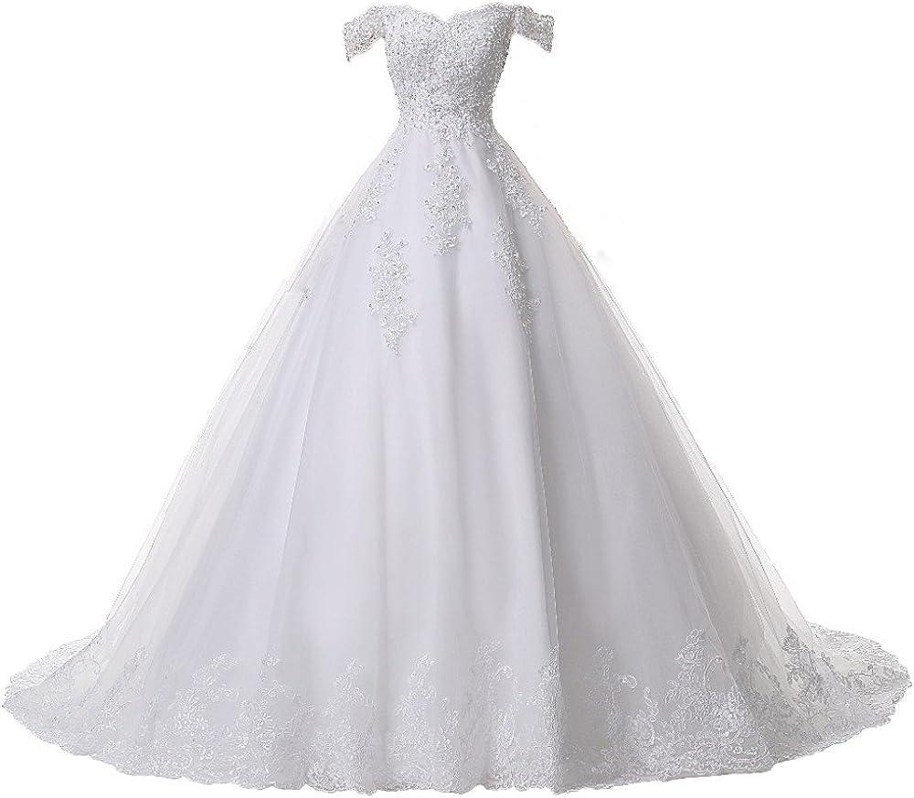 ZVOCY Wedding Dress Plus Size Lace Appliques Ball Gown ...