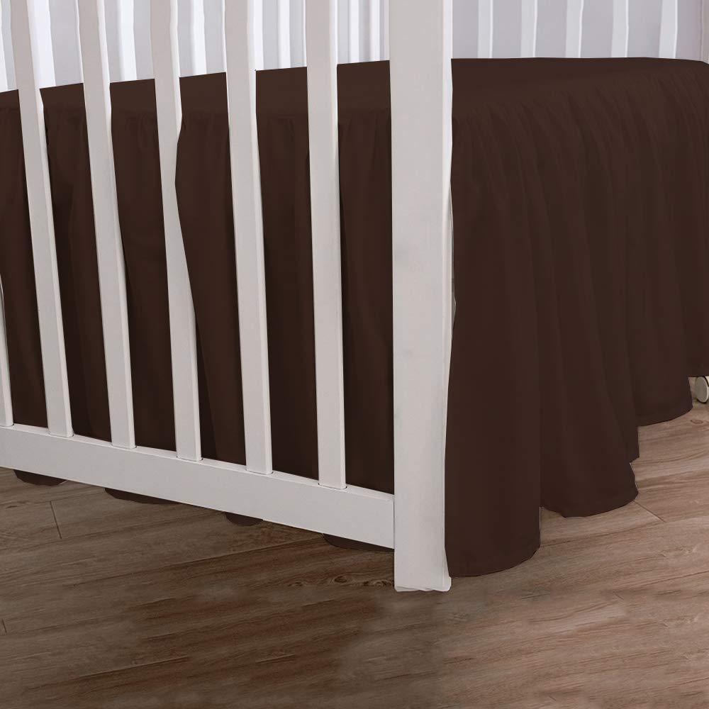 100/% Natural Cotton Nursery Crib Toddler Bedding Skirt for Baby Girls or Boys Linenwala Burgundy Pleated Crib Bed Skirt Split Corner 14 Drop