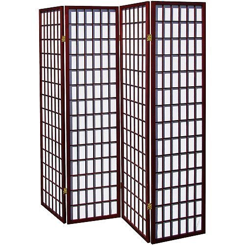 Cherry 4 Panel Room Divider Wooden Screen Oriental Style Shoji Solid New