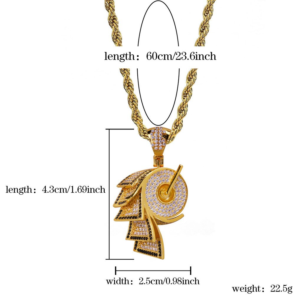 JINAO 18k Gold Plated ICED Out Toilet Roll Dollar Sign Pendant Necklace by JINAO (Image #3)