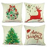 Homar Christmas Theme Decorations Cotton Linen Pillowcase Throw Pillow Case Cushion Cover with Hidden Zipper Perfect for Home Decorative