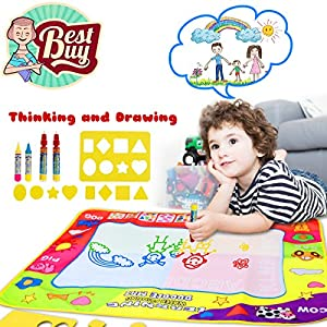 Doodle Mat Magic Water Drawing Mat In 4 Colors With 4 Water Pens And 8 Molds Best Kids Boys Girls Toddler Toys Gift For 2 3 4 5 6 Year Old