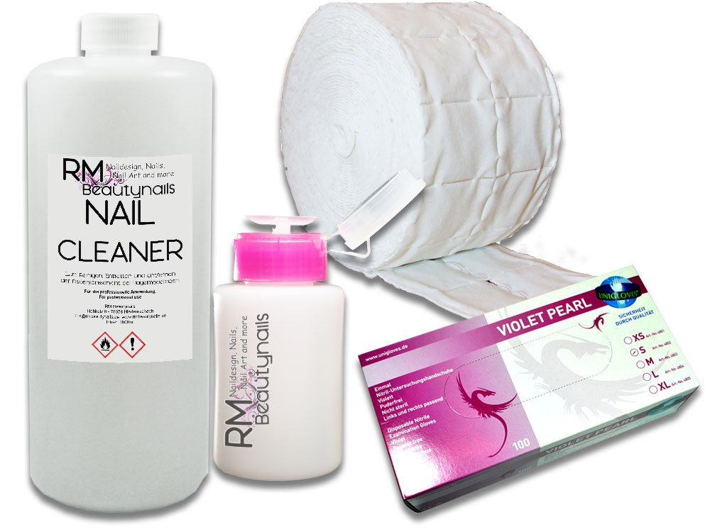 1000 ml uñas Cleaner Set con 100 guantes de nitrilo 500 zelletten dispender Pump Botella para uñas: Amazon.es: Belleza